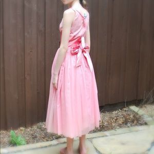 Vtg 50s Pink Party Dress w/ Tags Tulle, Satin Bow